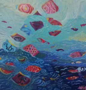 Maalauksessa on merimaisema, jossa kelluu värikkäitä suikaleita.